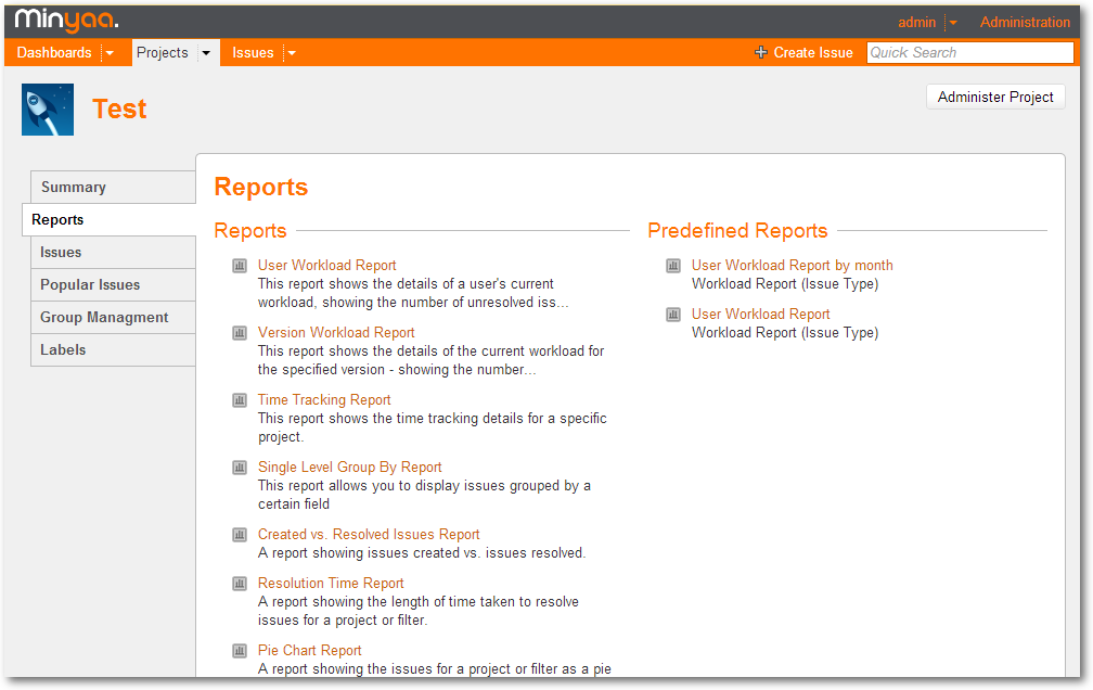 Predefined Reports Project Tab Panel